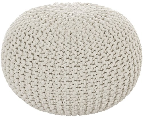Sitzpuff Sitzhocker Bodenkissen ver. Farben Ø 55 Höhe 37 cm Baumwolle handgeknüft (natur weiß)