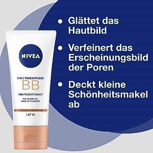 Nivea Diarios Esenciales BB Cream 5 en 1 Beautifying Crema hidratante con SPF 10, de medio a oscuro 50 ml