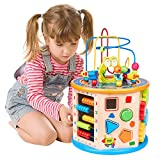 WloveTravel Large Size 8 in 1 Wooden Activity Cube Bead Maze Multi-purpose Educational