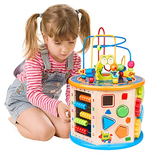 WloveTravel Motorikwürfel, 8 in 1 Holzspielzeug Holz Aktivität Cube Bead Labyrinth Mehrzweck pädagogisches Spielzeug für Kinder Baby Kleinkinder, ideal für Alter 3 4 5 6 7+ Jahre altes Kind(8 in 1)