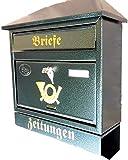 Naturholz-Schreinermeister Großer Briefkasten/Postkasten XXL Grün mit Zeitungsrolle Schrägdach Trapezdach