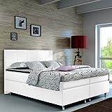 Boxspringbett 180x200 Weiß Hotelbett Doppelbett Polsterbett Ehebett amerikanisches Bett Modell Madrid Typ 1 (180x200)