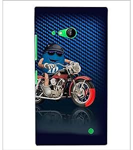PrintDhaba Bike Rider D-3819 Back Case Cover for NOKIA LUMIA 730 (Multi-Coloured)