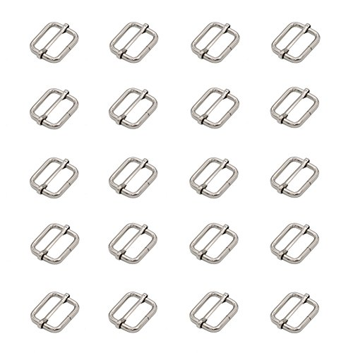 Leen4You - 25 mm Adjustable Sliding Belt, buckle for bag, backpack, luggage bag, silver color (20 package)