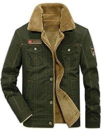 c759ed608eef donhobo Herren Fleecejacke Winter Winddichte Military Jacke Outdoor  Stoffjacke Canvas Übergangsjacke