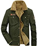 donhobo Herren Fleecejacke Winter Winddichte Military Jacke Outdoor Stoffjacke Canvas Übergangsjacke(02Grün,M)