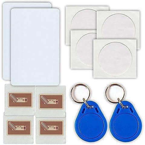 NFC Tag Starterkit 12 NFC Tags - 2 NFC Karten, 2 Schlüsselanhänger, 8 NFC Sticker (Nfc Sticker)