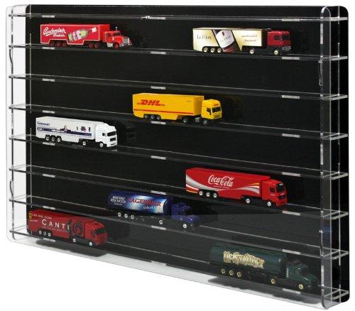 Vetrina espositiva per modellini camion in scala 1/87 con pannello posteriore nero