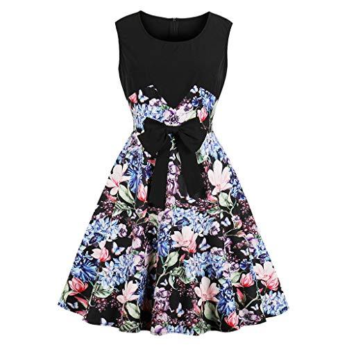 Eleganter Vintage-Stil Knielanger Rock Rundhals-Blumendruck-Bogen-Vintage-Kleid Rock Kleiden Kleider - Fred Feuerstein Maskottchen Kostüm