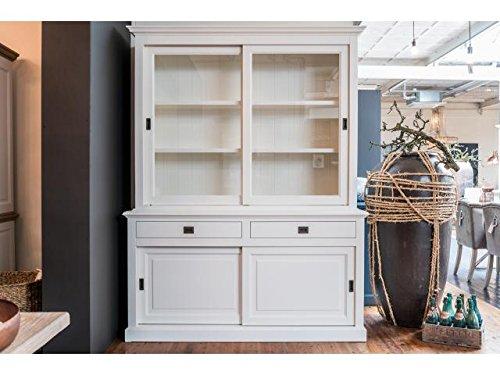 Vitrine weiß, Geschirrschrank weiß Massivholz, Schrank weiß Landhaus, Breite 177 cm (Glas-schiebe-regale)