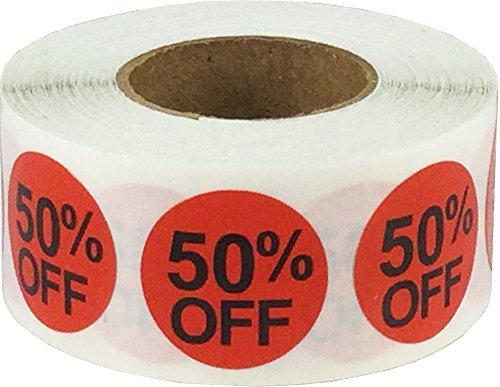 Rojo Circulo 50% de Descuento Pegatinas, 19 mm 3/4 Pulgada Redondo, 500 Etiquetas en un Rollo