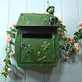 CKH Grüne Insekt europäischen Klassischen Villa Briefkasten pastoralen Retro Wand mit Schloss Briefkasten Postfach Wasserdichte Mailbox im Freien