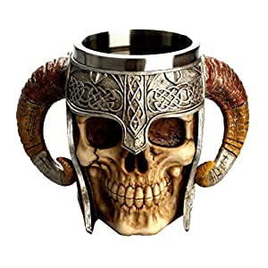 Tinksky Stainless Steel Skull Coffee Drinking Cup Resin 3D Tankard for Halloween Bar Party Horror Decor