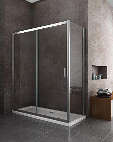 Cabina de ducha de 2 lados, cristal fijo 70, 75, 80, 90...