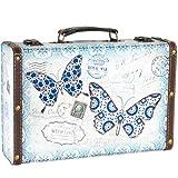 Poco madera maleta con mariposa
