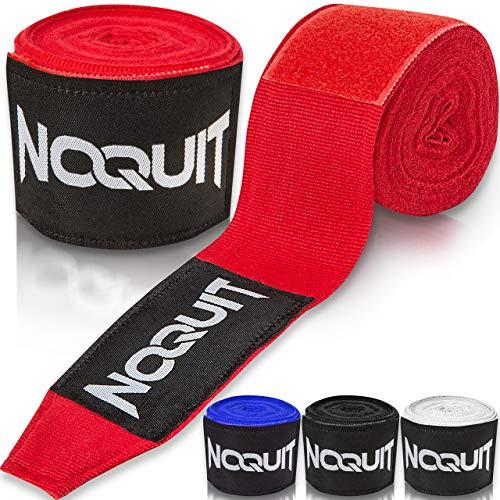 NOQUIT Premium Boxbandagen mit Daumenschlaufe - 4 m Bandagen für maximale Stabilität beim Boxen, Kickboxen & MMA in rot -