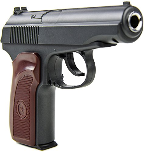Preisvergleich Produktbild Softair Metall Pistole Vollmetall ca. 23cm lang Federdruck braun-schwarz ab 14 J.