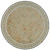Mediterraner Gartentisch marokkanischer Mosaiktisch Ø 100 cm rund weiß terrakotta mit Gestell H 73 cm  Kunsthandwerk aus Marrakesch | Dekorativer Balkontisch Bistrotisch Beistelltisch  MT2109