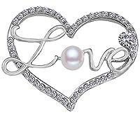 FENGJI Full Crystal Heart Shaped Brooch Pin Vintage Dress Coat Shinning Rhinestone Love Pins Silver