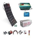 wccsolar Solarpanel-Set, 12 V, 300 W, Wechselrichter mit Ladegerät 35 A, für Wohnwagen und Boote