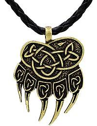1416b156968d Viking Steampunk Mjolnir Scandinavian Pagan Fenrir Nordic Bear - Colgante  con forma de garra de huellas de acero inoxidable - Bronce de…