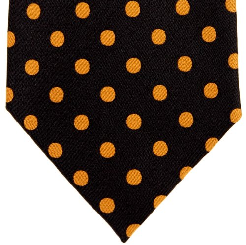 Retreez Cravate en microfibre tissée pour homme Motif à pois Plusieurs coloris au choix Or - Black with Gold Dots