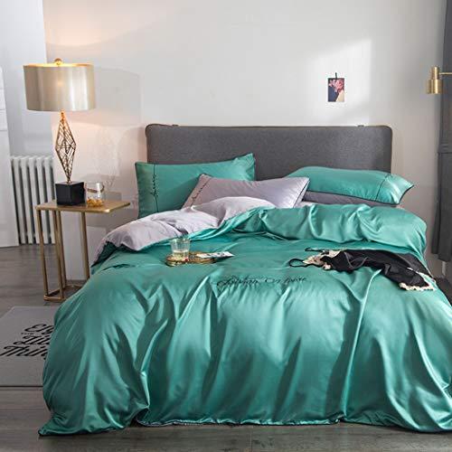 JHLD Bettwäsche Bettdecken Bezug Abdeckung Einstellen 4teilig, Microfiber Nieder Tröster Decke Bettwäsche Mit Reißverschluss Schließung-11-200×230CM -