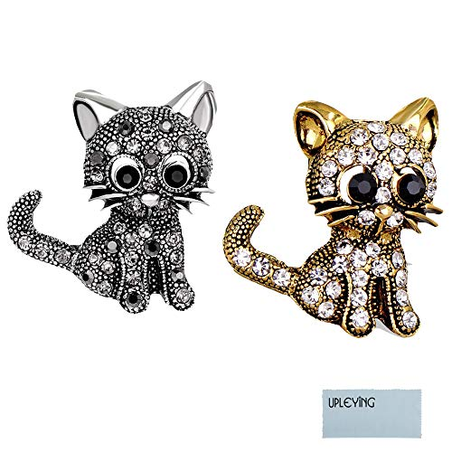 UPLEYING Sicherheitsnadel Cat Pins Sparkly Crystal Brosche Style Pin Silber Gold (B)