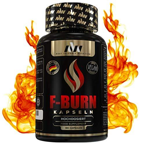 MVN® Abnehmen F-BURN Fatburner Kapseln, Hochdosiert, Energie-Stoffwechsel, Glucomannan, Appetitzügler, Diät optimiert von Experten, Made in Germany