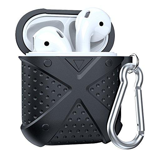 Airpods Hülle MeanLove, Airpods Schutzhülle Shell Silikonhülle und Cover mit Karabiner für Apple Airpods (Schwarz)