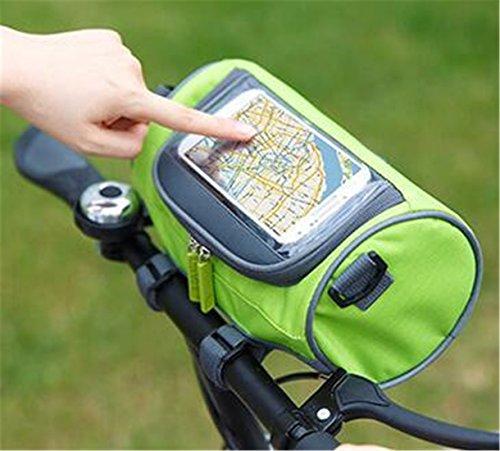 duoguan Multifunktions Wasserdicht Lenkertasche Fahrrad vorne Korb Gepäckträger Tasche Handy Halter Tasche mit abnehmbarem Schultergurt Grün
