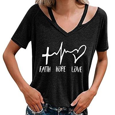 Yvelands Damen Mode T-Shirt Kurzarm Rundhals Brief gedruckt Halfter Top lässige Bluse