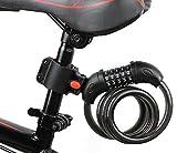AKM Fahrradschloss Zahlenschloss mit Halterung für Fahrrad und Motorrad,Hohe Sicherheit 5 Stelliges Kabelschloss
