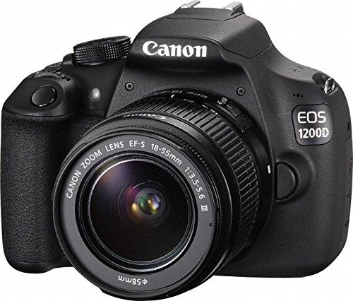 Canon EOS 1200D DSLR-Kamera (18 Megapixel CMOS-Sensor, 7,5 cm (3 Zoll) TFT-Display, 30 fps, HDMI, USB 2.0) mit EF-S 18 bis 55mm DC III Objektiv (Rebel Canon Eos T5)