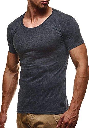 LEIF NELSON Herren T-Shirt Tiefer Rundhalsausschnitt | Basic Shirt Kurzarm Slim Fit | Männer T-Shirt lang | 100% Baumwolle | 04251460505109