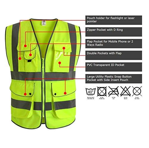 JKSafety Neun Taschen Unisex Hohe Sichtbarkeit Warnweste Reflektierende Weste Reißverschluss EN ISO 20471 (Medium)