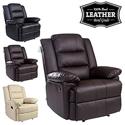 Loxley Leather Recliner Armchair Sofa Home Lounge Chair Reclining Gaming - low-cost UK light shop.