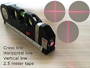 Rebzar Laser Line Pro, Spirit Level, 2.5m Tape and 1/2 Feet Ruler for Multi purposes (Black, Laser Level LV03)