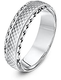 Theia Unisex Sterling Silver Hammered Finish with Polished Designed Edge 6 mm Wedding Ring