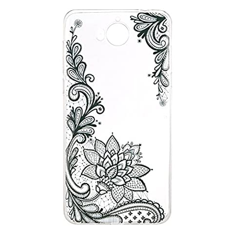 For Huawei Y5 2017 / Y6 2017 Case Cover, Fanryn TPU Clear Soft Silicone Back Colorful Hollow Floral Printed Pattern Silicone Case Protective Cover Cell Phone Case for Huawei Y5 2017 / Y6 2017 - Black