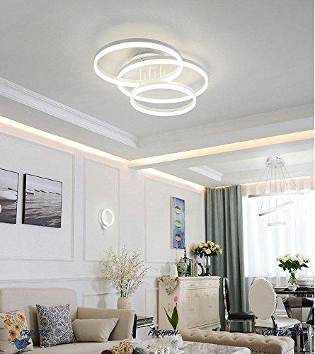 75W LED Deckenleuchte 3-Ring Deckenlampe Acryl Rund Weiß Hochwertige Modern Minimalistische Atmosphäre Kunst Lampen Klassisch Leuchtring Decke Licht Dimmbar 3000K-6000K Ø(40+50+60)cm (Licht 75w Dimmbar Ring)