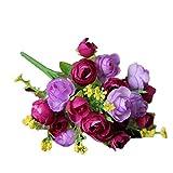 Xinantime Flores Artificiales,Xinan 1x 21 Cabezas Decor del Hogar Flores Decorativas (Púrpura)
