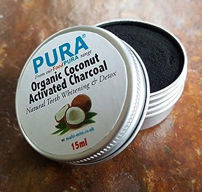 PURA® Fine COCONUT Activated Charcoal Powder 20ML - Organic Teeth Whitening & Detox!!