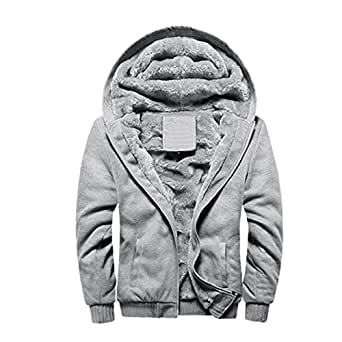 WALK-LEADER Mens Winter Soft Hooded Jacket Hoodie Faux-Fur Lined Warm Coat Grey 2XL