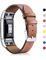 Mornex Correa de cuero para Fitbit Charge 2, Correa Ajustable Talla Unica Correas de Recambio para Fitbit Charge 2 Pulsera de Actividad Física con Conectores de Metal, Marrón