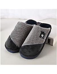 GAOHUI Slippers Los Hombres Otoño Invierno Antideslizante Térmico Terciopelo Artificial Zapatillas Caricatura Pareja Costura Zapatos,Gris,38-39