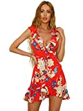 Sentao Mujer Vintage Floral Vestidos Elegante Verano Sin Mangas Vestido de Fiesta de Noche (Rojo, Asia XL)