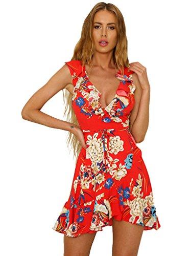 Sentao Mujer Vintage Floral Vestidos Elegante Verano Sin Mangas Vestido de  Fiesta de Noche (Rojo a2c0b90f3eb3