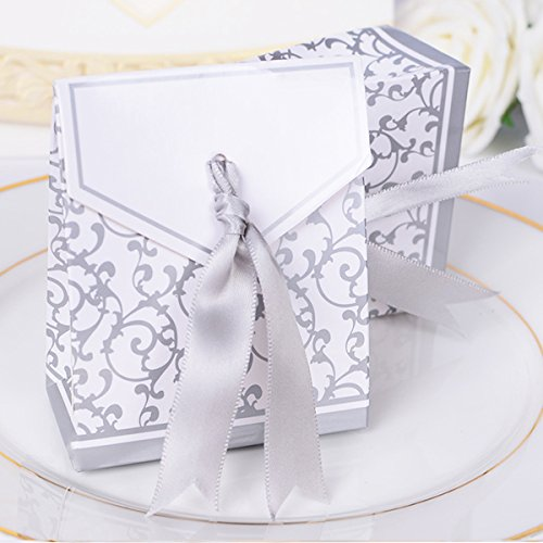 Bluelover 50Pcs Creative Wedding Candy Gift Box Hochzeits-Party Chocolate Candy Geschenkartikel Boxen - Silber