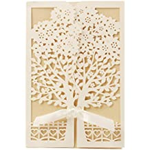 bfbdb54acb3e VStoy Recenti nozze d oro Kit Inviti Cards con bowknot del nastro  Cartoncino per Wedding